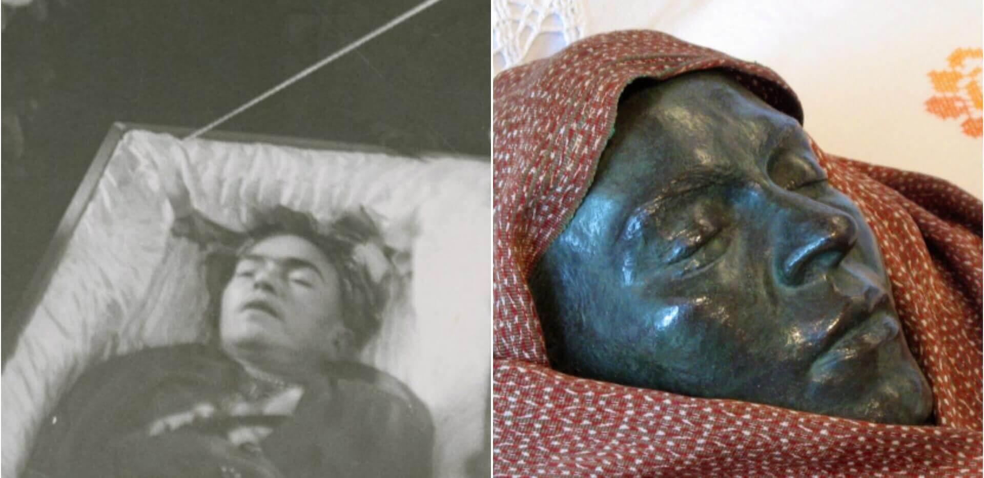 Frida Kahlo'nun naaşı ve Mavi Ev'deki Ölüm Maskesi